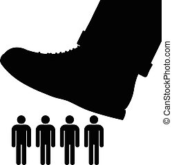 Large foot about to tramp people - Black cartoon vector...