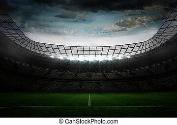 Large football stadium under blue sky - Digitally generated ...