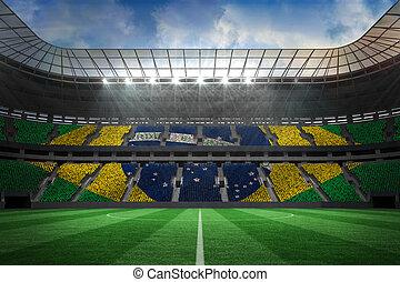 Digitally generated large football stadium with brasilian fans