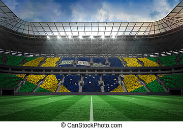Large football stadium with brasilian fans - Digitally...
