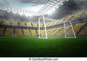 Large football stadium with lights