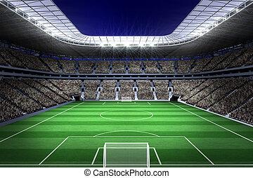 Large football stadium with lights - Digitally generated...