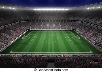 Large football stadium with lights - Digitally generated ...