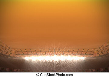 Large football stadium with spotlights under orange sky