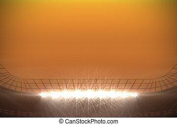 Large football stadium with spotlights under orange sky