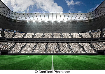 Large football stadium with white fans - Digitally generated...
