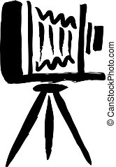freehand sketch illustration of Large format camera, doodle hand drawn