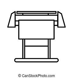 Large format inkjet printer icon, outline style