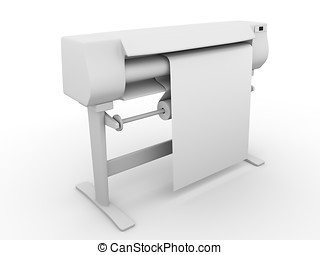 Large format printer - Side view of an inkjet plotter. Large...