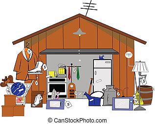 garage sale - large garage sale illustration over white