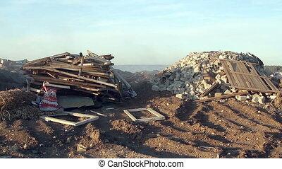 Large garbage dump waste with smoke - Volgograd, Russian...