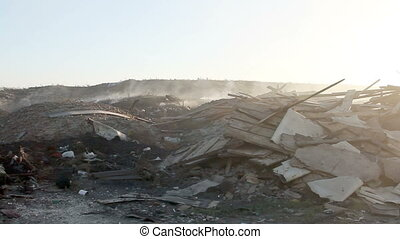 Large garbage dump waste with smoke - Volgograd, Russian...