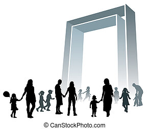 Large gate - Parents and children are going to a large gate.