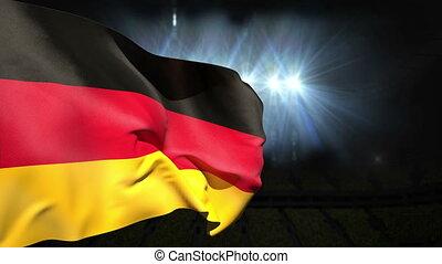 Large german national flag waving