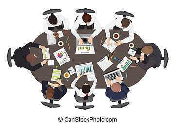 large, gestion, brain-storming, business, point, concept., stratégie, rond, collaboration, table, vue., réunion, sommet, discuter