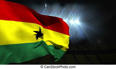 Large ghana national flag waving on black background with...