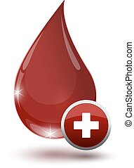 large glossy red drop of blood with medical sign