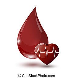 large glossy red drop of blood with medical sign heart