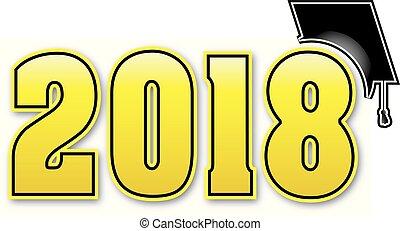 Large Gold 2018 with graduation Cap