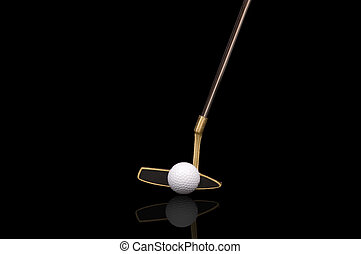 Large Golf putter and ball isolated on black and reflected off of glass surface