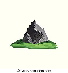 Large gray mountain with sharp peaks surrounded with bright...