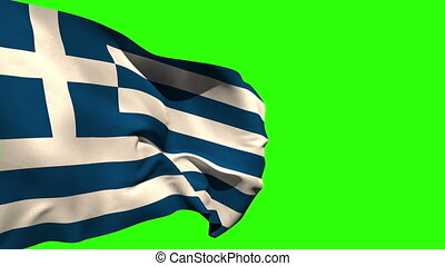 Large greece national flag blowing on green screen background