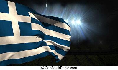 Large greece national flag waving