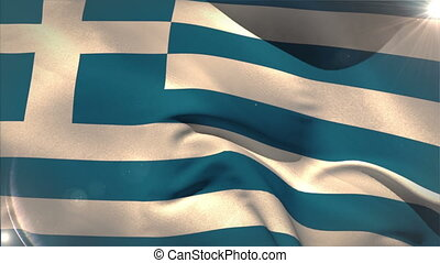 Large greece national flag waving with lens flare