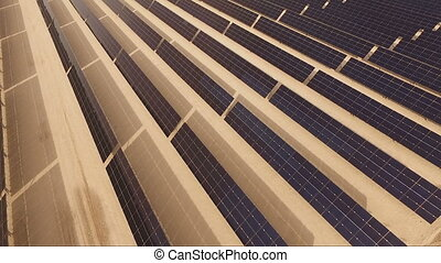 Large Green Alternative Energy Solar Power Farm Sun...