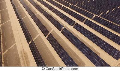 Large Green Alternative Energy Solar Power Farm Sun Collecting Panels