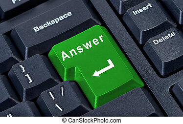 Large green computer keyboard button with the word answer and arrow close-up.