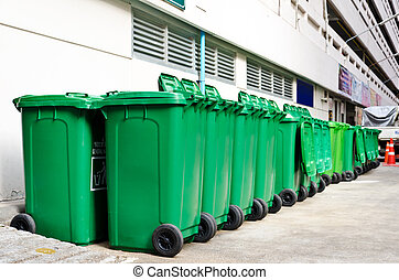 large green trash cans (garbage bin) with wheels