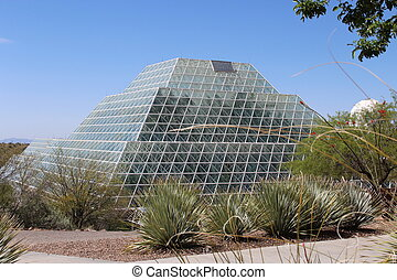 Biosphere 2 - Large greenhouse at landmark Biosphere 2...
