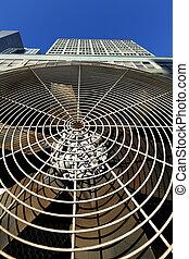 large, gros plan, angle, hvac, air, ventilateur, climatiseur