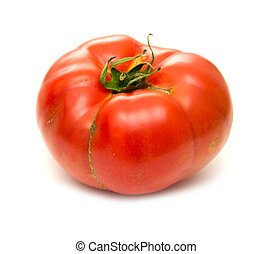large ground-grown tomato isolated on white background