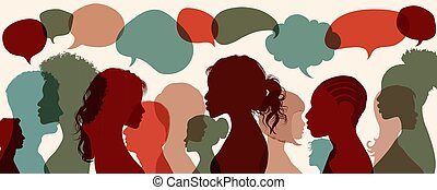 Communication between people who talk. Integration between people of different culture and ethnicity. Social media communication concept, blog, business. Chat, dialogue or communication in the workplace or between friends. Interact in the virtual community. Teamwork concept. Active participation. ...