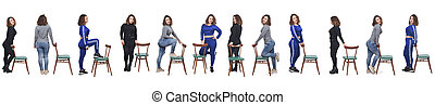 large group of a same woman playing with a chair con diferentes formas de vestir on white background