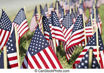 Large Group of American Flags - Shallow DOF