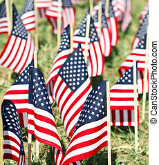 Large Group of American Flags - Vertical