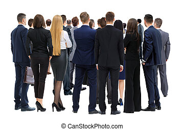 Large group of business people. Over white background -...