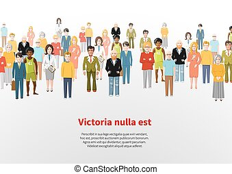 Large group of cartoon people vector background
