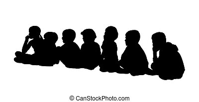 large group of children seated silhouettes 2