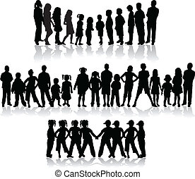 Large group of children's silhouettes - vector illustration
