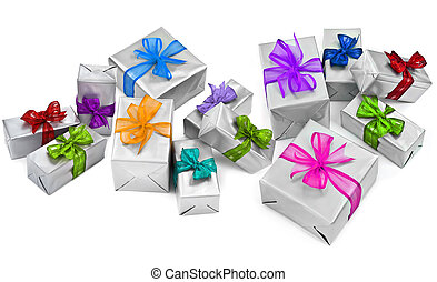 large group of christmas presents on white background