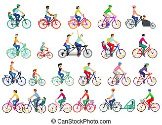 Large group of cyclists, set isolated, vector illustration.eps