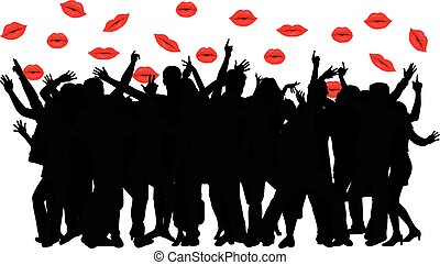 Large group of dancing people. Background on the lips.