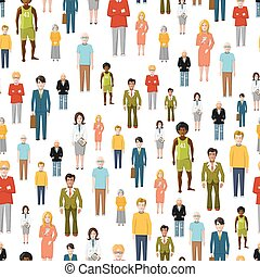 Large group of flat cartoon people. vector seamless pattern