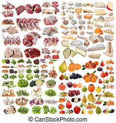 large group of food in front of white background