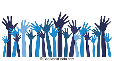 Large group of happy hands illustration.