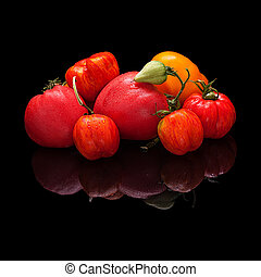 Large group of multi-colored tomatoes isolated on black
